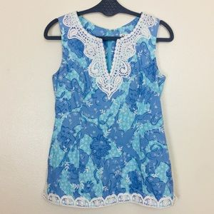 Lilly Pulitzer Sleeveless Blouse Sky Blue
